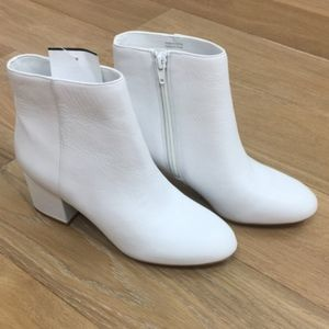 ALDO White Leather Ankle Booties